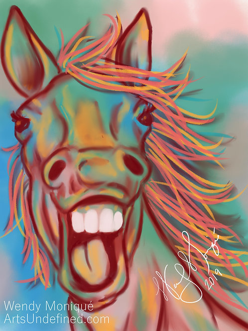 Laughing Animal Series - Happy Horse (11x14 Matted)