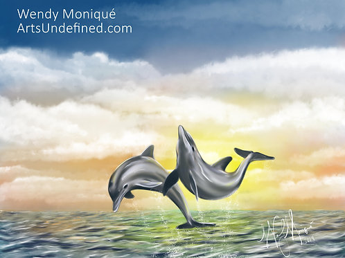 Playful Dolphins (11x14 Matted)