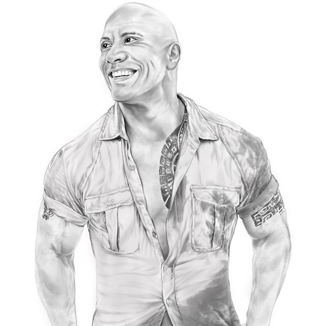 Next one is - Dwayne Johnson! This one was fun to do, and also added some progression snapshots whil