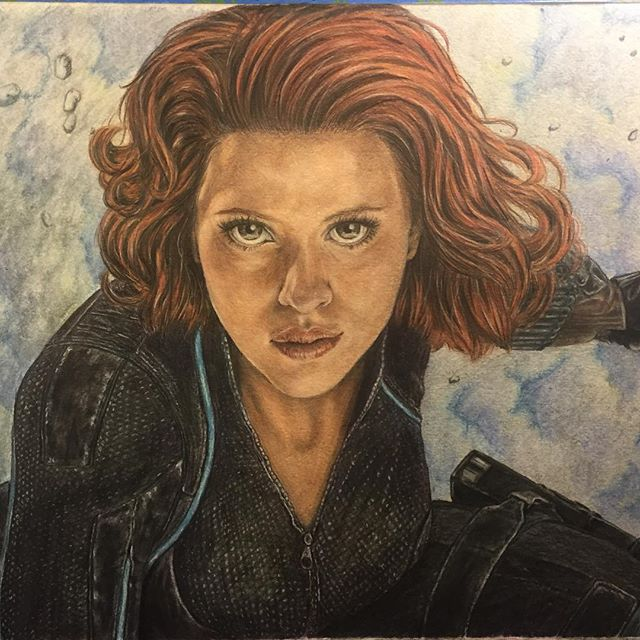 Black Widow (colored pencil) #ArtsUndefined #WendyMoniqueArt #WendyMonique