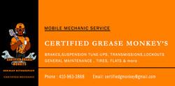 ) CERTIFIED GREESE MONKEYs BUSINESS CARD