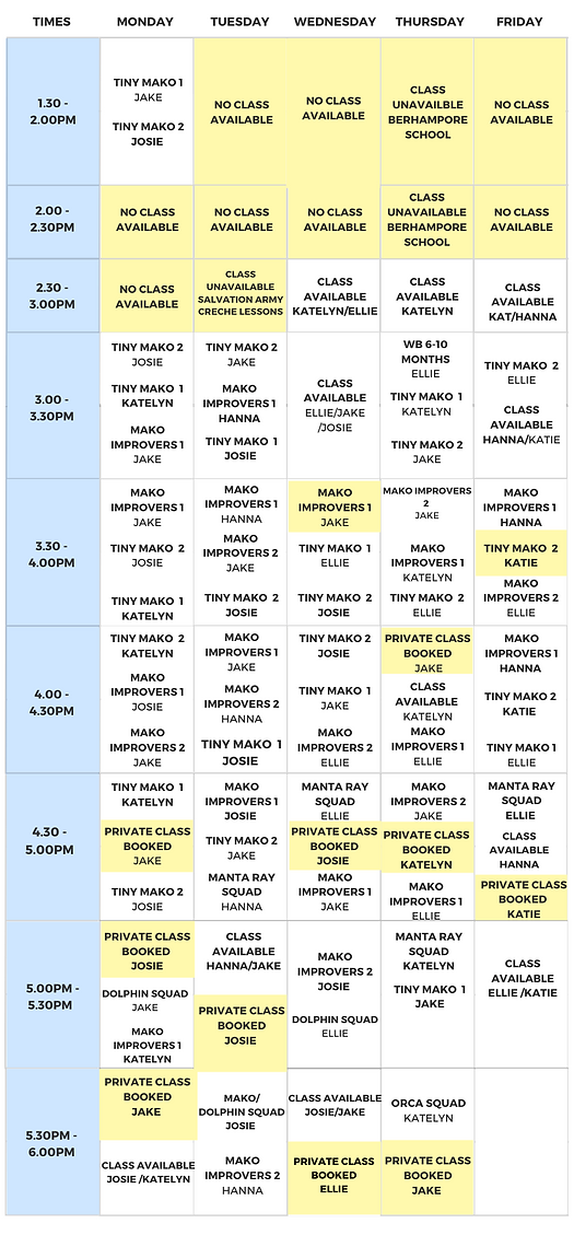 Afterschool Timetable - Term Three 2020