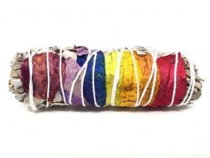 """7 Chakra (White Sage with 7 Color Rose Petals) 4"""""""