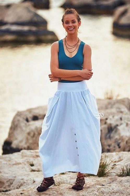 Ribbed Waist Side Gathered White Boho Maxi Skirt