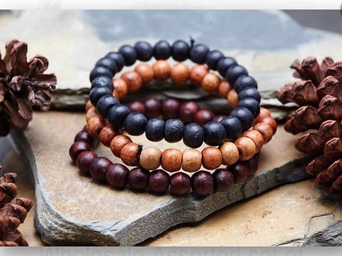 Assorted Thai Wooden Mala Beads - Elastic Bracelets. Unisex.