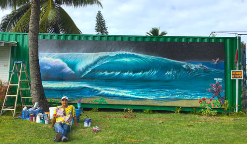 kahuku art gallery hilton alves surf art ocean mural street art hawaii oahu giovannis shrimp truck