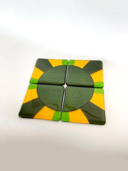 Green sunny planet, coasters