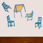table bleue, objets plats, objets photographiques   Illusion de la tridimensionnalité des objets photographiés