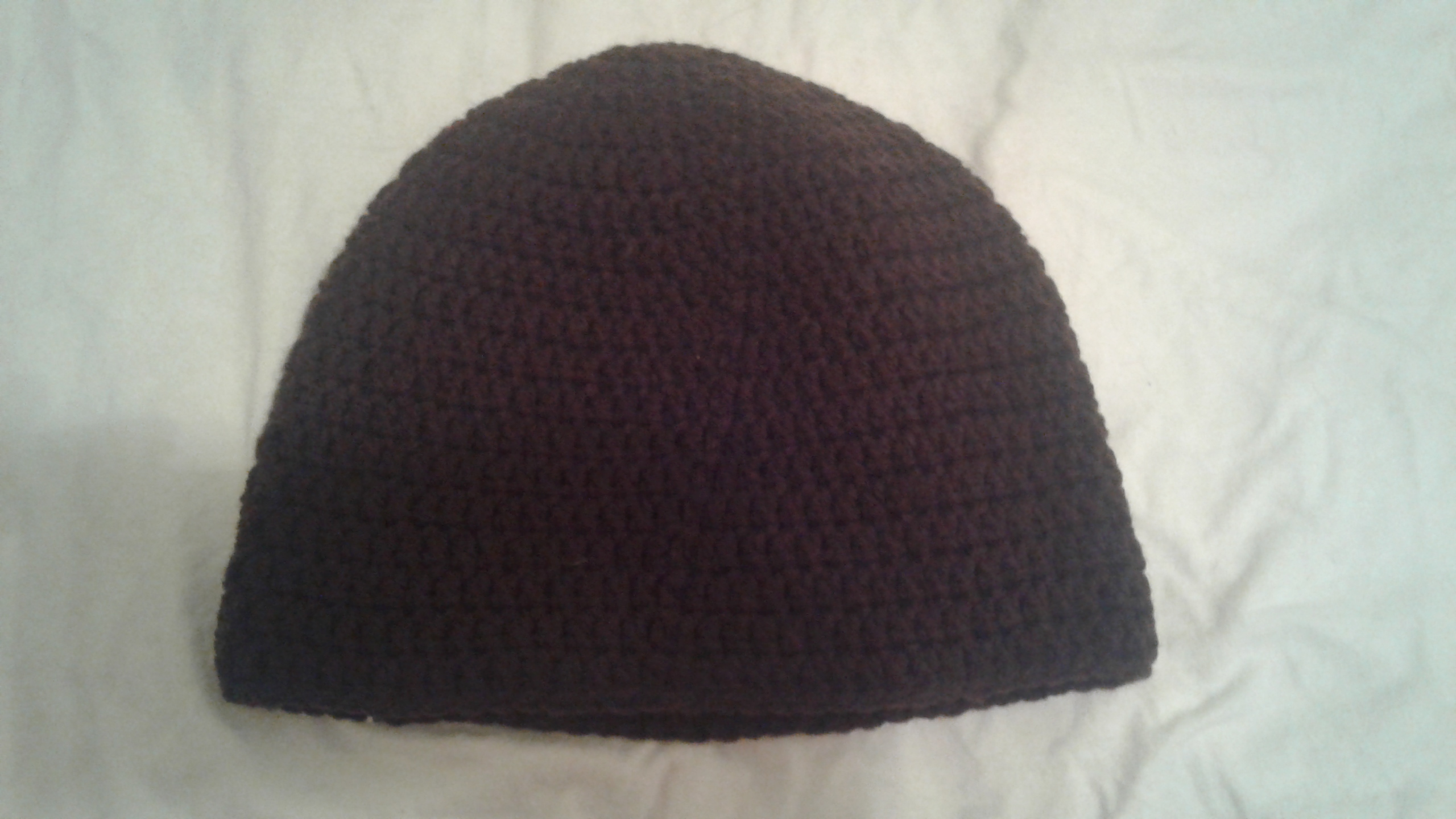 Dark Brown Adult Size Winter Hat - Simple Crochet