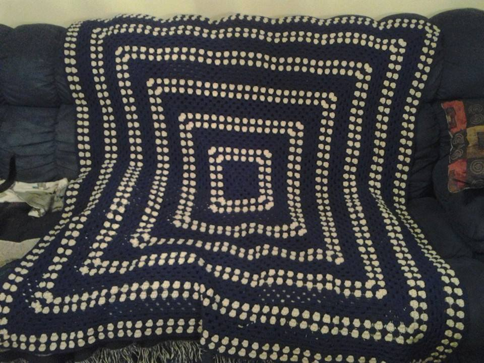 Large Blue & Tan Blanket - Granny Square