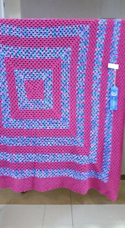 Large Hot Pink & Variegated Blanket - Gr