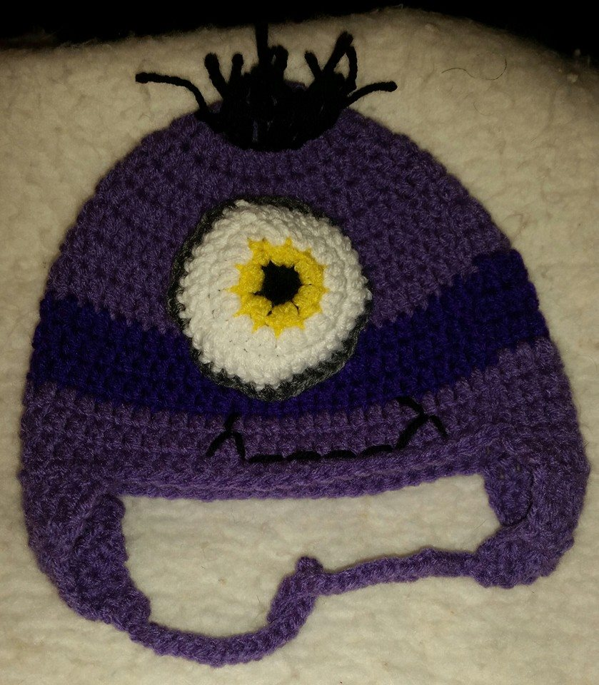 Despicable Me Child Size Winter Hat (Purple & 1 Eye) - Simple Crochet.jpg