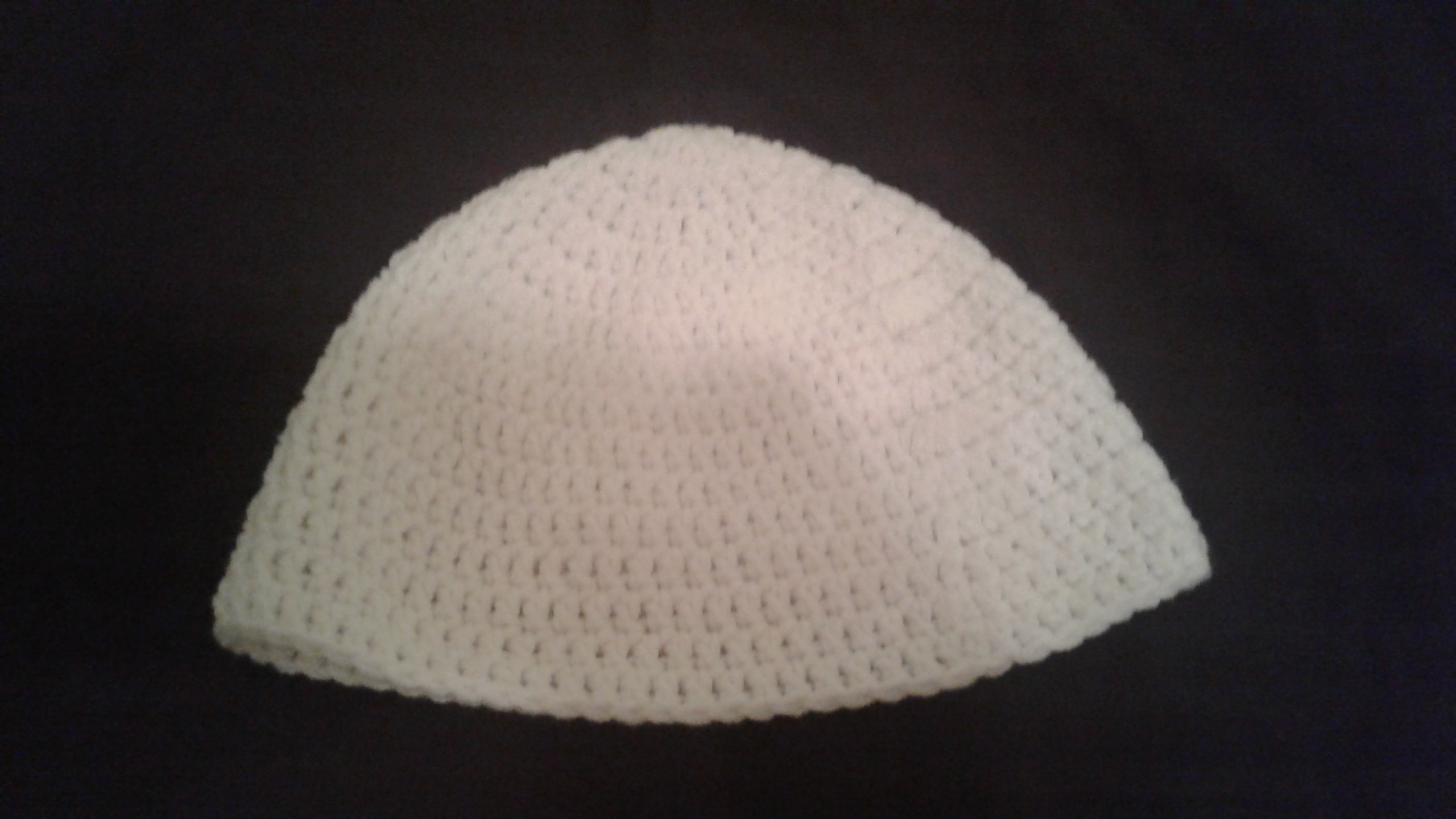 White Adult Size Winter Hat - Simple Crochet