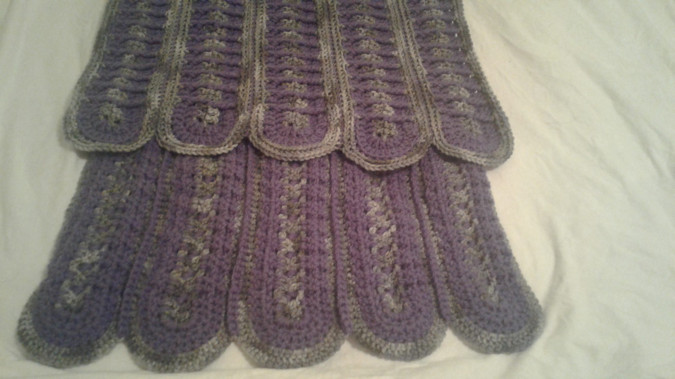 Adult Wrap (Shawl) - Gray & Purple Rounds (both sides)