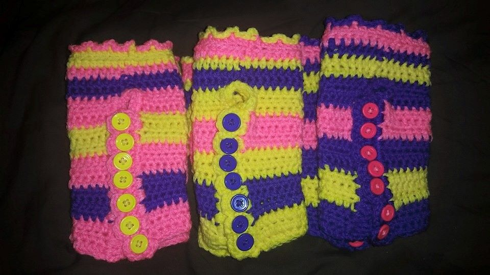Short Pink & Purple & Yellow Fingerless Gloves - Simple Crochet