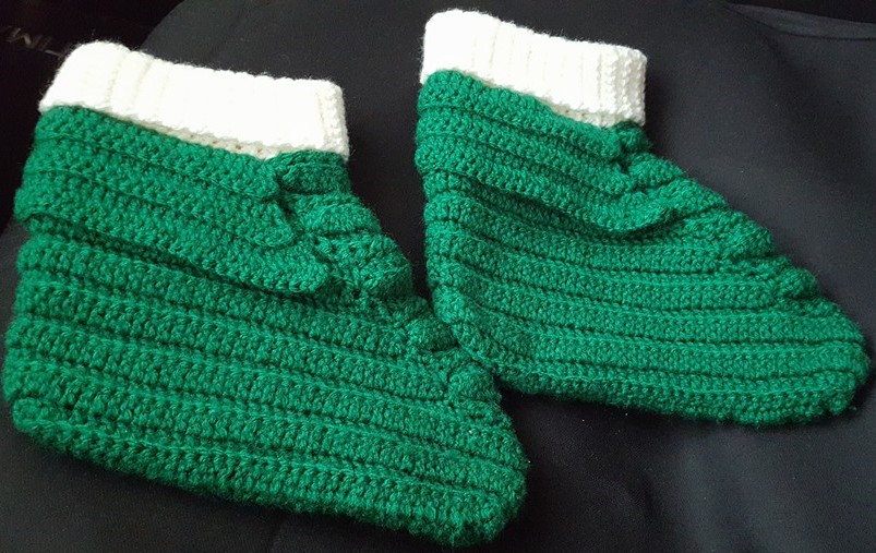 Adult Green & White Slippers-Side