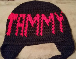 Black and Pink Adult Size Winter Hat - Simple Crochet.jpg