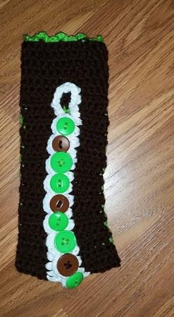 Long Green & Brown Fingerless Gloves - Simple Crochet