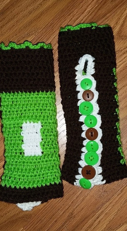 Long Green & Brown Fingerless Gloves (2) - Simple Crochet