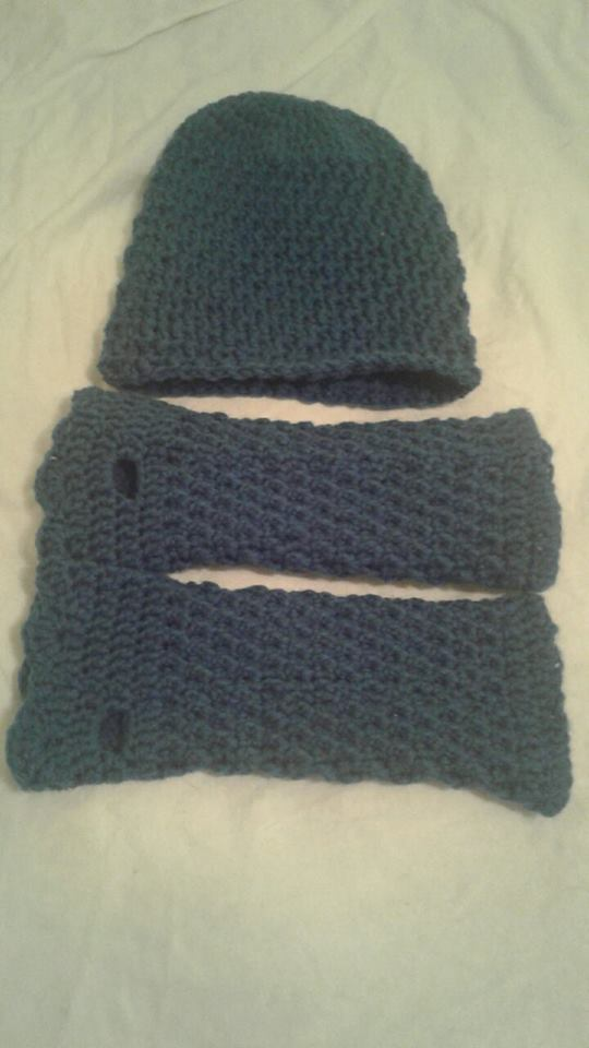 Blue Suede Adult Fingerless Gloves & Hat - Simple Crochet