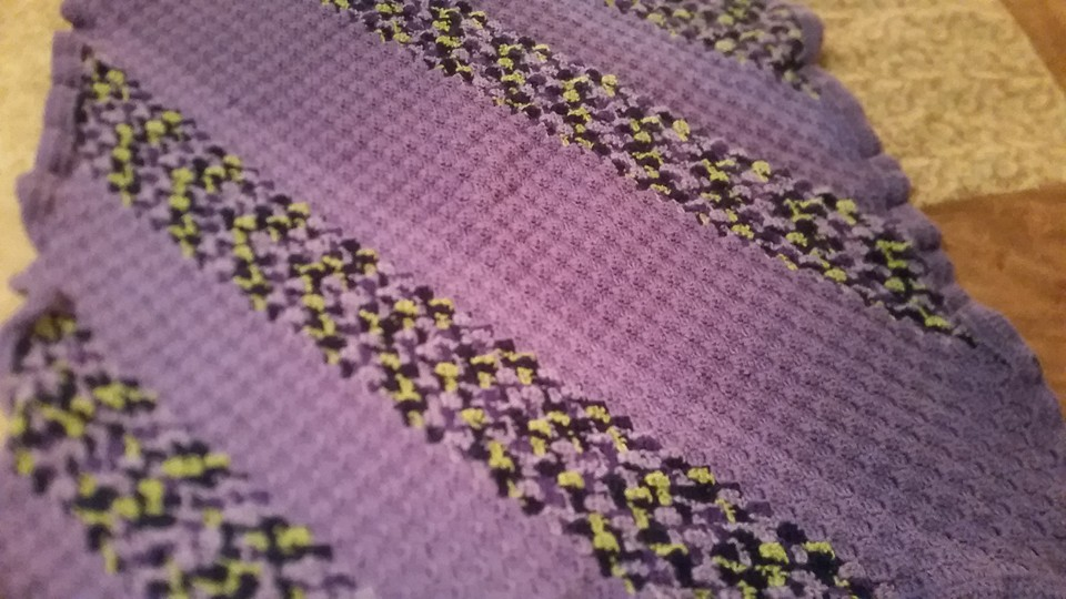 Small Purple & Variegated Blanket - Corn