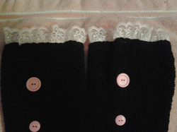 Adult Black with Pink Lace and Buttons Legwarmers-ZoomTop
