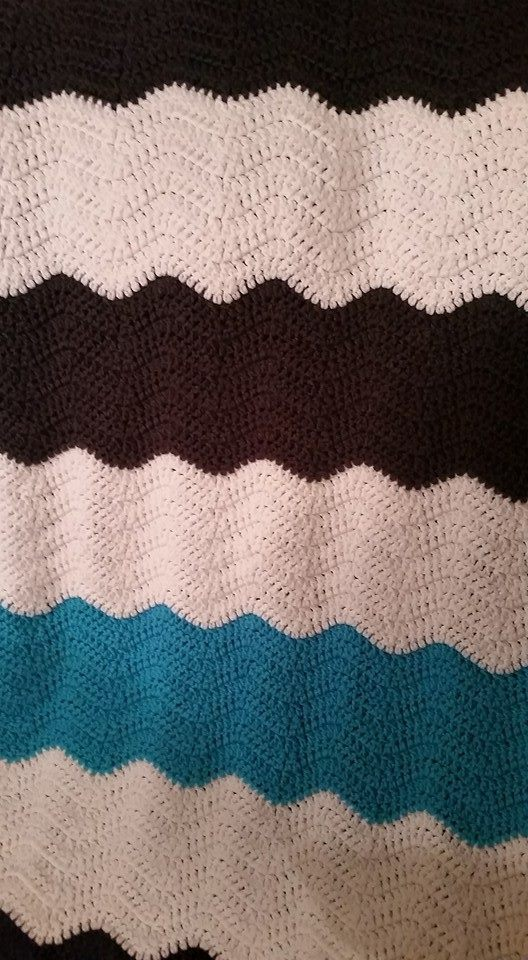 Medium Teal & White & Black Blanket - Ch