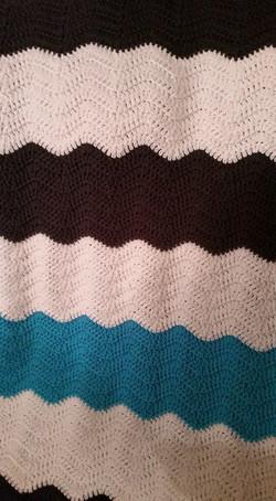 Medium Teal & White & Black Blanket - Ch
