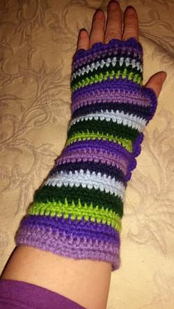 Long Purple Fingerless Gloves (2) - Simple Crochet