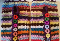 Short MultiColor Fingerless Gloves (2) - Simple Crochet