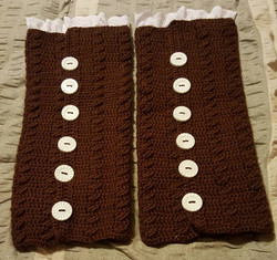 Adult Brown with White Lace Legwarmers