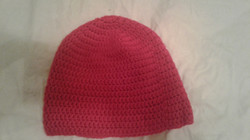 Red Adult Size Winter Hat - Simple Crochet