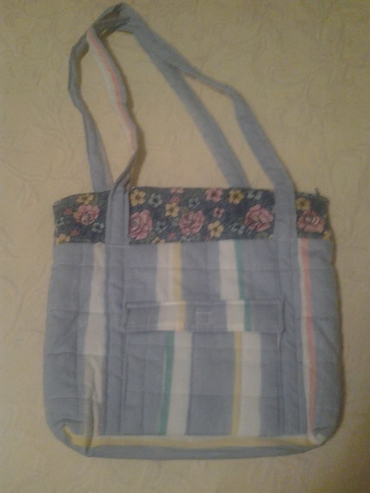 Blue Stripe & Flower Quilted Handbag - Simple Sewing.jpg