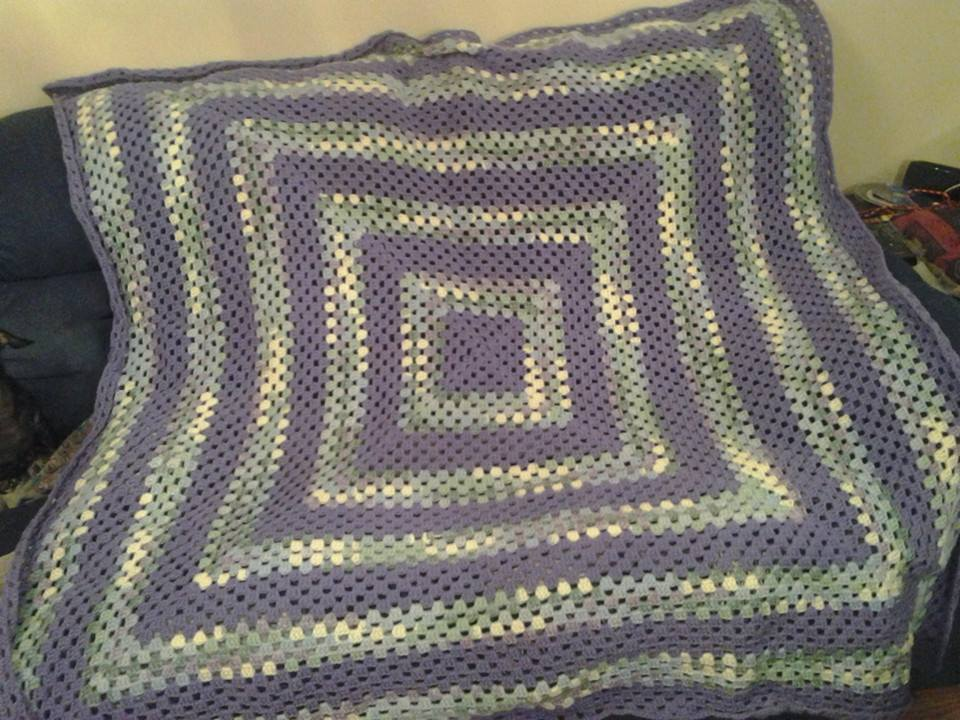 Large Purple & Green Variegated Blanket