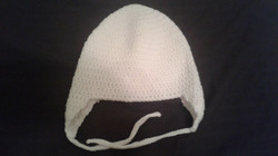 White Adult Size Winter Hat (flaps) - Simple Crochet