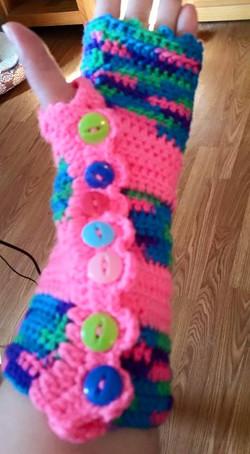 Long Pink Fingerless Gloves (3) - Simple Crochet