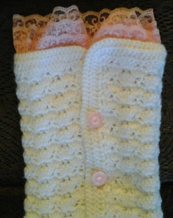 Adult White with Pink Lace Legwarmer