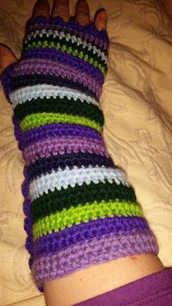 Long Purple Fingerless Gloves (3) - Simple Crochet