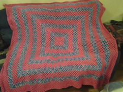 Large Pink & Variegated Blanket - Granny