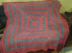 Large Pink & Variegated Blanket - Granny