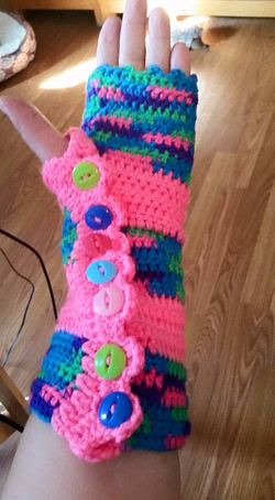 Long Pink Fingerless Gloves (2) - Simple Crochet