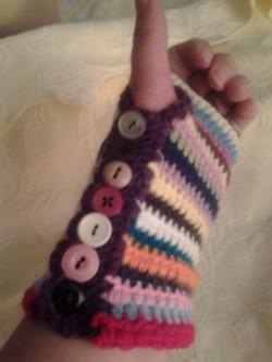 Short MultiColor Fingerless Gloves - Simple Crochet