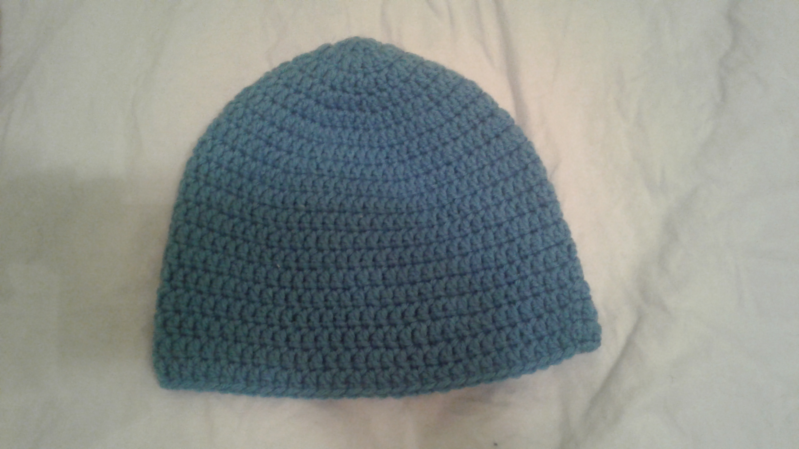 Blue Adult Size Winter Hat - Simple Crochet