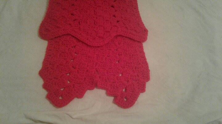 Red Granny Square C2C Scarf