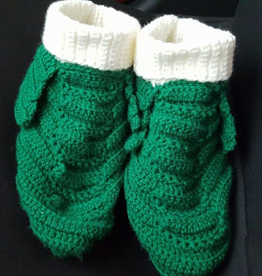 Adult Green & White Slippers-Front