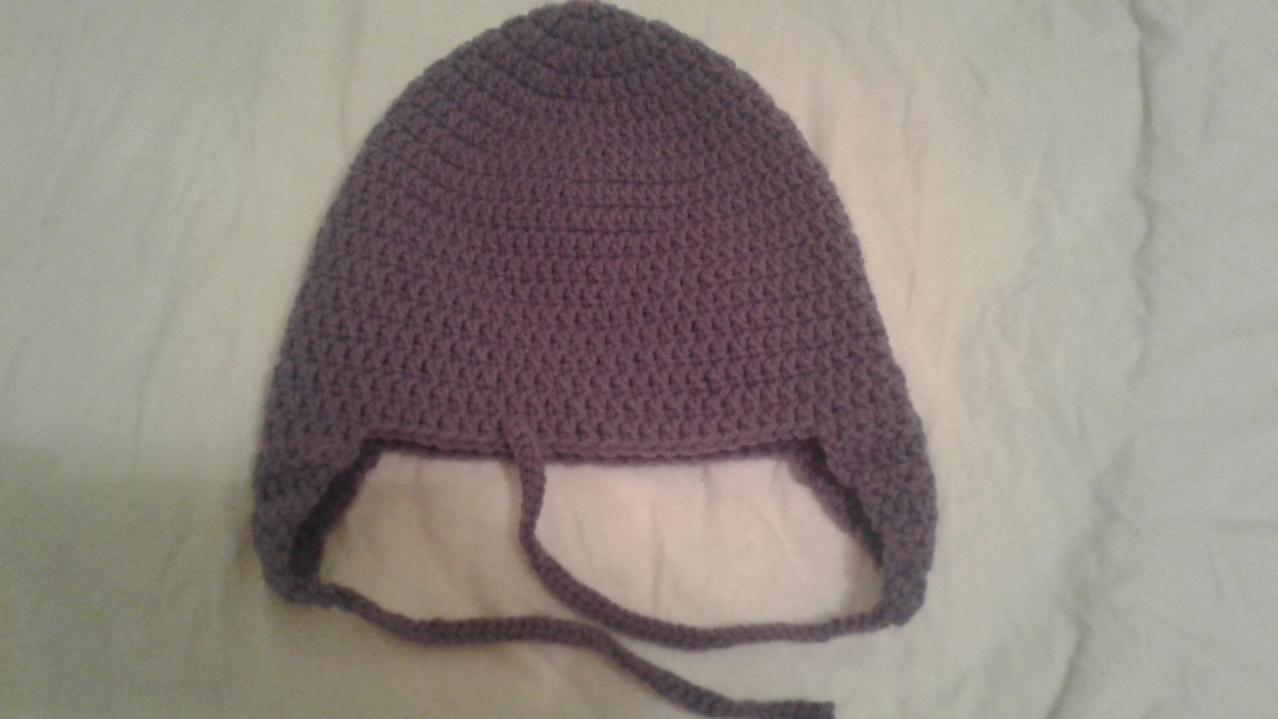 Purple Adult Size Winter Hat (flaps) - Simple Crochet
