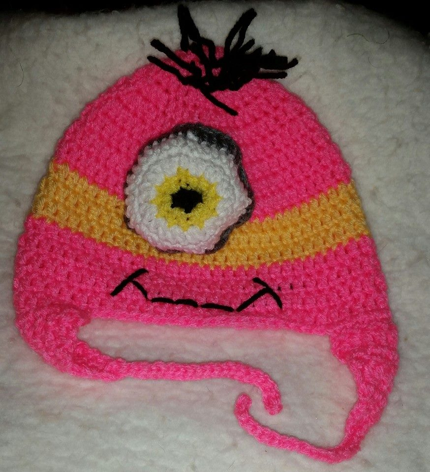 Despicable Me Child Size Winter Hat (Pink & 1 Eye) - Simple Crochet.jpg