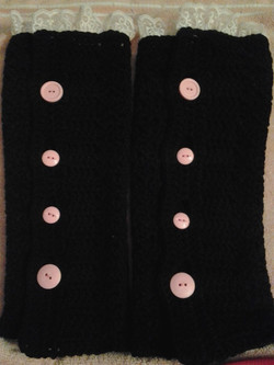 Adult Black with Pink Lace and Buttons Legwarmers-Full