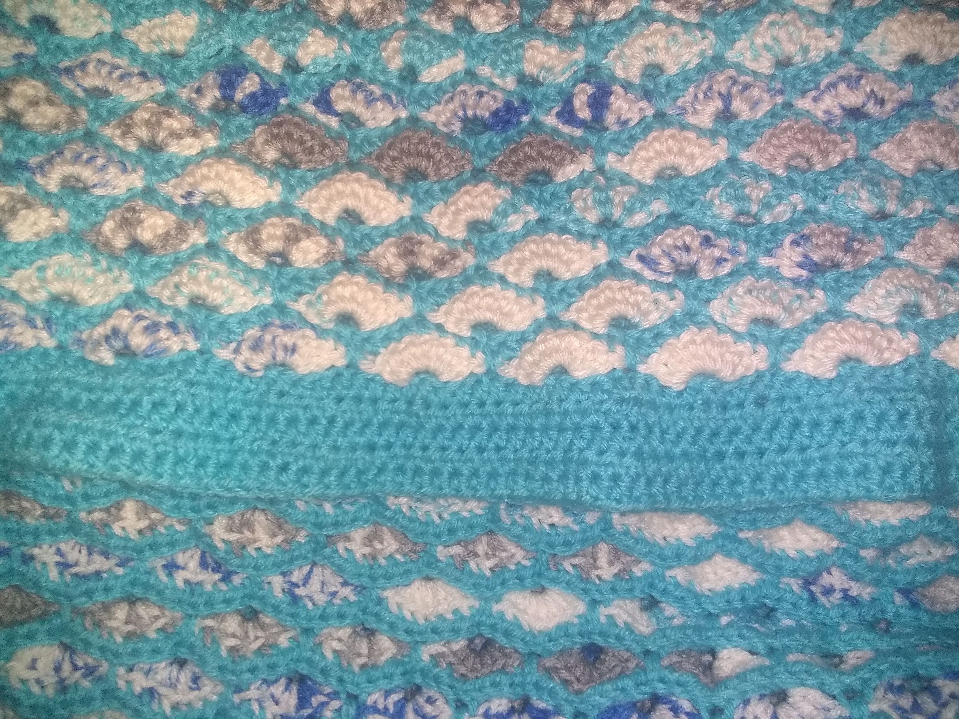 Meduim Teal & Variegated Blanket - L