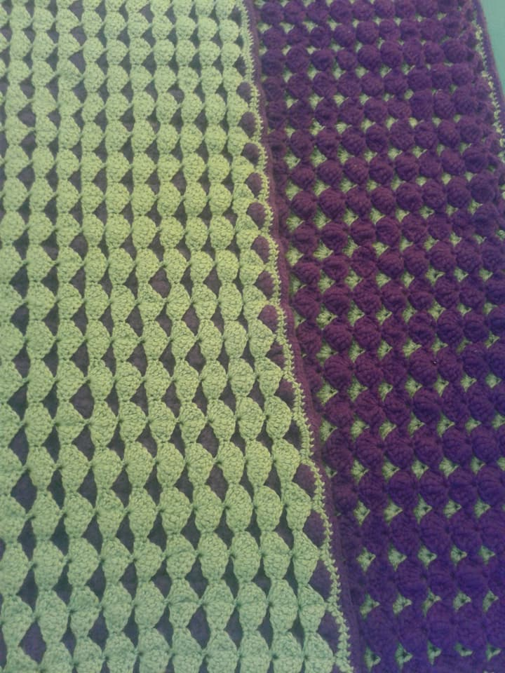 Medium Purple & Lime Green Blanket - Dou
